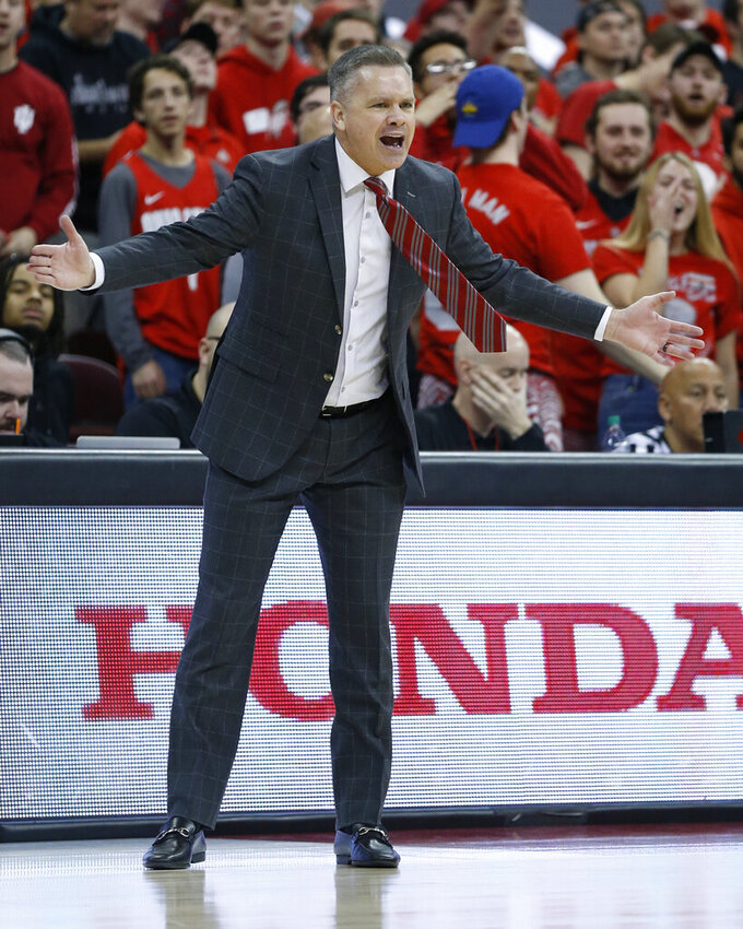 Ohio State head coach Chris Holtmann shouts to his team during the first half of an NCAA college basketball game against Indiana, Saturday, Feb. 1, 2020, in Columbus, Ohio. (AP Photo/Jay LaPrete)