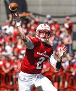 In this Sept. 1, 2018, photo, St. John's (Minn.) quarterback Jackson Erdmann throws a pass against the University of Wisconsin-Stout during an NCAA college football game in Collegeville, Minn. Erdmann was named to The Associated Press Division III All-America Team, Thursday, Dec. 13, 2018.  (Dave Schwarz/St. Cloud Times via AP)