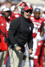 Indiana head coach Tom Allen reacts to a call during the first half of an NCAA college football game against Rutgers, Saturday, Oct. 12, 2019, in Bloomington, Ind. (AP Photo/Darron Cummings)
