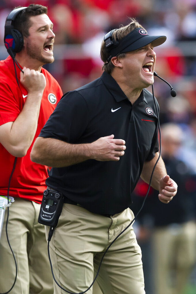 Georgia coach Kirby Smart shouts to players during the second half of an NCAA college football game against Georgia Tech, Saturday, Nov. 30, 2019 in Atlanta. Georgia won 52-7. (AP Photo/John Amis)