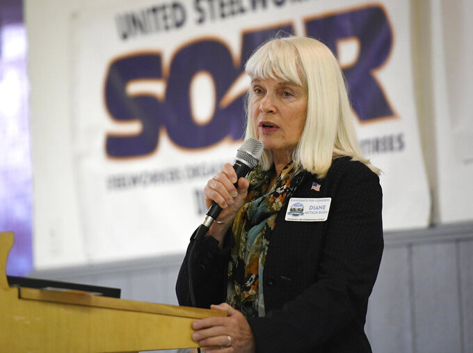 FILE - In this Sept. 21, 2018, photo, Democratic U.S. congressional candidate Diane Mitsch Bush speaks at the United Steelworkers of America Local #2102, in Pueblo, Colo. Mitsch Bush is facing Republican Lauren Boebert for the seat that covers southern and western Colorado. (Andy Cross/The Denver Post via AP, File)