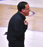 Georgia coach Tom Crean reacts during the team's NCAA college basketball game against LSU on Wednesday, Jan. 6, 2021, in Baton Rouge, La. (Hilary Scheinuk/The Advocate via AP)