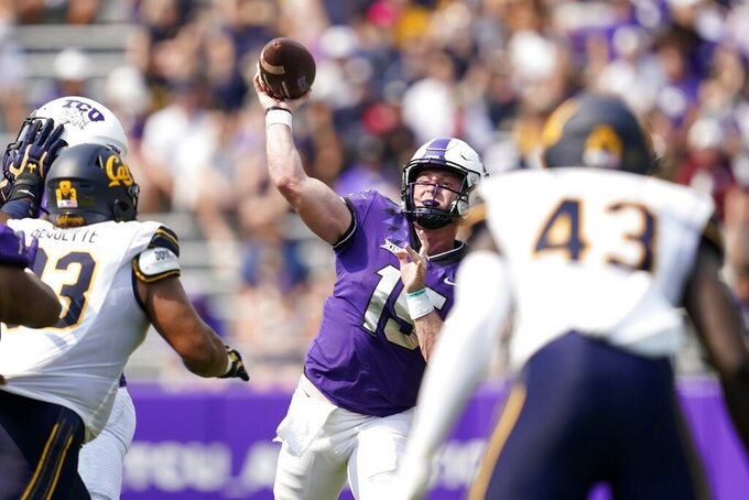 TCU quarterback Max Duggan (15) throws a pass in the first half of an NCAA college football game against California in Fort Worth, Texas, Saturday, Sept. 11, 2021. (AP Photo/Tony Gutierrez)