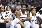 South Carolina forward Aliyah Boston (4) smiles from the bench during the second half of an NCAA college basketball game Monday, Feb. 17, 2020, in Columbia, S.C. South Carolina defeated Vanderbilt 95-44. (AP Photo/Sean Rayford)
