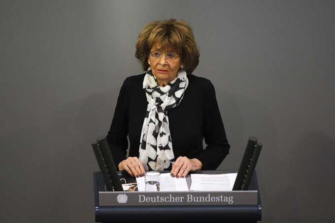 Holocaust survivor Charlotte Knobloch delivers a speech at the German Federal Parliament, Bundestag, at the Reichstag building in Berlin, Germany, Wednesday,, Jan. 27, 2021 during a special meeting commemorating the victims of the Holocaust on the International Holocaust Remembrance Day. (AP Photo/Markus Schreiber)
