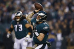 Philadelphia Eagles' Carson Wentz passes during the first half of an NFL football game against the New England Patriots, Sunday, Nov. 17, 2019, in Philadelphia. (AP Photo/Michael Perez)