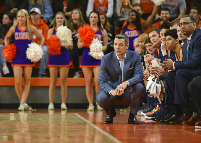 Virginia's head coach Tony Bennett watches the action during the first half of an NCAA college basketball game against Clemson, Saturday, Jan. 12, 2019, in Clemson, S.C. (AP Photo/Richard Shiro)