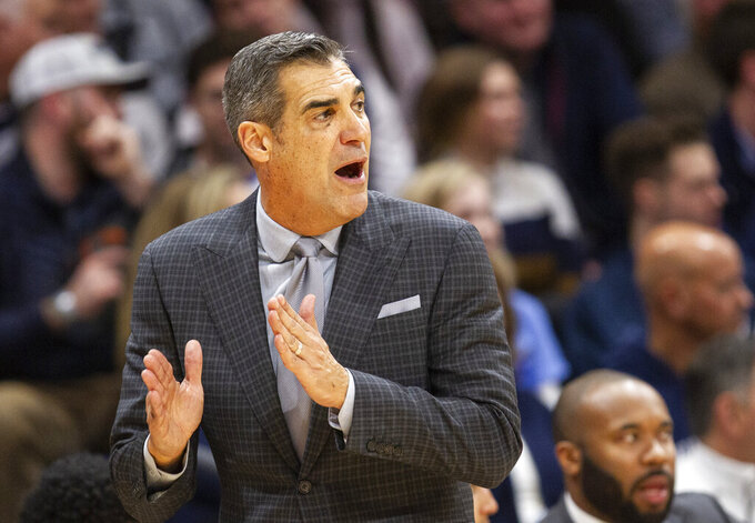 Villanova head coach Jay Wright shouts from the sideline during the second half of an NCAA college basketball game against Xavier, Monday, Dec. 30, 2019, in Villanova, Pa. Villanova won 68-62. (AP Photo/Laurence Kesterson)