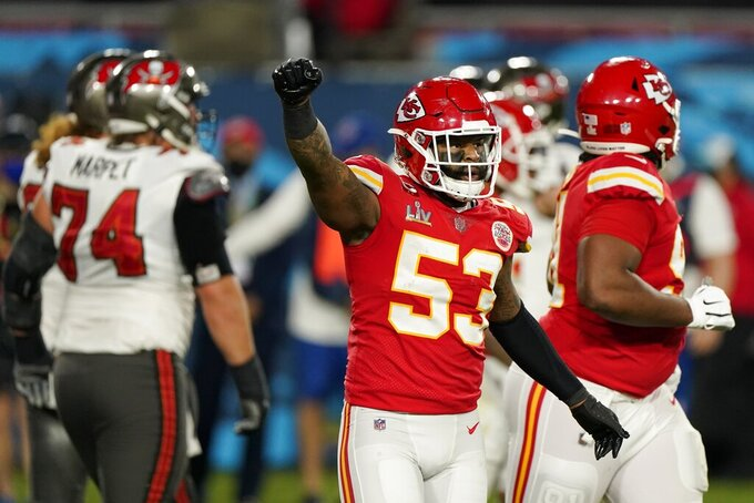 Kansas City Chiefs middle linebacker Anthony Hitchens celebrates after a fourth down stop during the first half of the NFL Super Bowl 55 football game against the Tampa Bay Buccaneers Sunday, Feb. 7, 2021, in Tampa, Fla. (AP Photo/Gregory Bull)