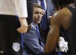 Saint Louis head coach Travis Ford talks to his team during a time-out in the first half of an NCAA college basketball game against Davidson in the semifinal round of the Atlantic 10 men's tournament Saturday, March 16, 2019, in New York. (AP Photo/Frank Franklin II)