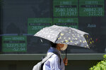 A woman wearing a protective mask walks in front of an electronic stock board showing Japan's Nikkei 225 and other Asian indexes at a securities firm Wednesday, June 9, 2021, in Tokyo. (AP Photo/Eugene Hoshiko)
