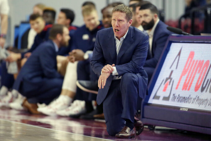 Gonzaga head coach Mark Few yells out during the first half of an NCAA college basketball game against Loyola Marymount in Los Angeles, Saturday, Jan. 11, 2020. (AP Photo/Alex Gallardo)