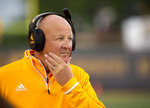Wyoming head coach Craig Bohl watches this team play Missouri during the first half of an NCAA college football game Saturday, Sept. 8, 2018, in Columbia, Mo. (AP Photo/L.G. Patterson)