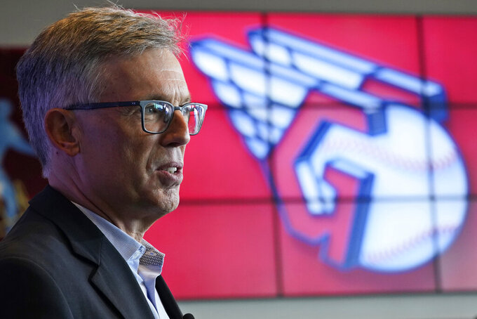 Cleveland Indians owner Paul Dolan speaks to the media as the new Indians logo is displayed, Friday, July 23, 2021, in Cleveland. Known as the Indians since 1915, Cleveland's Major League Baseball team will be called Guardians. The ballclub announced the name change Friday, effective at the end of the 2021 season. (AP Photo/Tony Dejak)