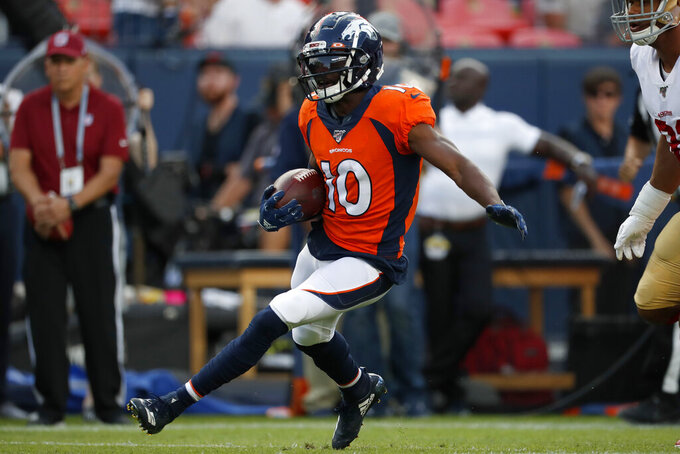 Denver Broncos wide receiver Emmanuel Sanders (10) runs after the catch against the San Francisco 49ers during an NFL preseason football game, Monday, Aug. 19, 2019, in Denver. (AP Photo/David Zalubowski)