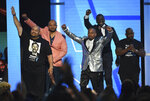 Raymond Santana Jr, from left, Kevin Richardson, Korey Wise, Yusef Salaam, and Antron McCray, also known as The Exonerated Five, introduce a performance by H.E.R. and YBN Cordae at the BET Awards on Sunday, June 23, 2019, at the Microsoft Theater in Los Angeles. (Photo by Chris Pizzello/Invision/AP)