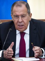 Russian Foreign Minister Sergey Lavrov speaks to the media during his and Chinese Foreign Minister Wang Yi joint news conference following the talks in Sochi, Russia, Monday, May 13, 2019. Lavrov has called on European leaders to stick to the Iranian nuclear deal. (AP Photo/Pavel Golovkin, Pool)