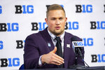 Nebraska defensive lineman Ben Stille talks to reporters during an NCAA college football news conference at the Big Ten Conference media days, Thursday, July 22, 2021, at Lucas Oil Stadium in Indianapolis. (AP Photo/Doug McSchooler)