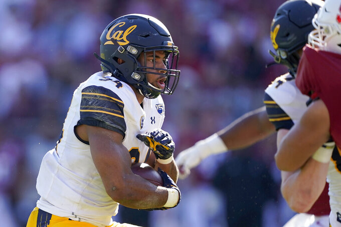 California running back Christopher Brown Jr. (34) rushes for a touchdown against Stanford during the first half of an NCAA college football game Saturday, Nov. 23, 2019 in Stanford, Calif. (AP Photo/Tony Avelar)