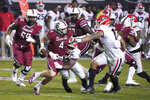 Georgia linebacker Azeez Ojulari (13) sacks South Carolina quarterback Luke Doty (4) during the first half of an NCAA college football game Saturday, Nov. 28, 2020, in Columbia, S.C. (AP Photo/Sean Rayford)