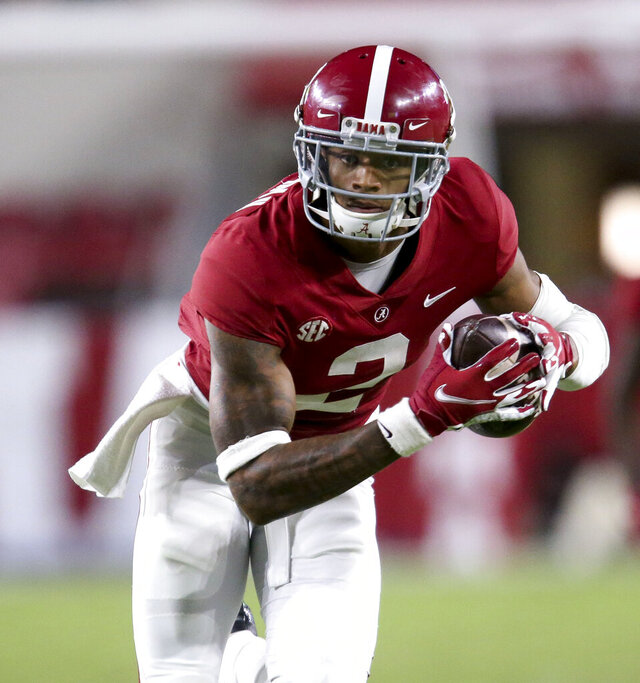 Alabama defensive back Patrick Surtain II (2) returns an interception for a touchdown against Mississippi State  during an NCAA college football game Saturday, Oct. 31, 2020, in Tuscaloosa, Ala. (Gary Cosby Jr./The Tuscaloosa News via AP)