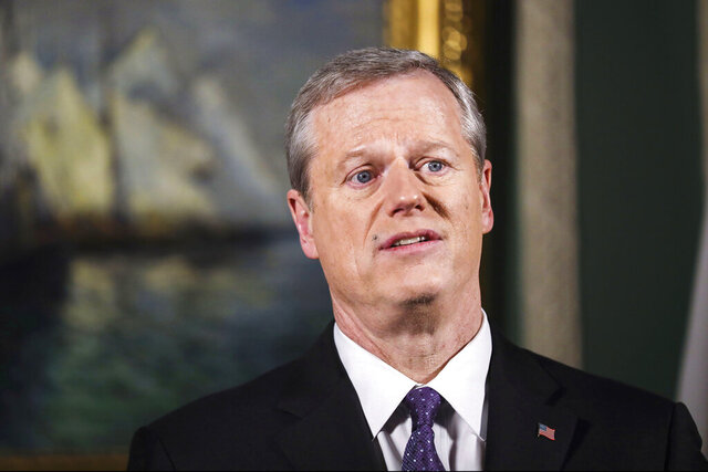 Massachusetts Gov. Charlie Baker delivers his televised State of the Commonwealth address from his ceremonial Statehouse office on Tuesday evening, Jan. 26, 2021, in Boston. (Erin Clark/The Boston Globe via AP, Pool)