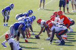 The New York Giants and the Cleveland Browns line up during a joint NFL football training camp practice Friday, Aug. 20, 2021, in Berea, Ohio. (AP Photo/Ron Schwane)