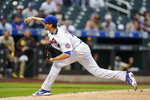 New York Mets' Jacob deGrom delivers a pitch during the first inning of a baseball game against the San Diego Padres, Friday, June 11, 2021, in New York. (AP Photo/Frank Franklin II)