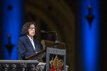 Author Fran Lebowitz speaks during the Celebration of the Life of Toni Morrison, Thursday, Nov. 21, 2019, at the Cathedral of St. John the Divine in New York. Morrison, a Nobel laureate, died in August at 88. (AP Photo/Mary Altaffer)