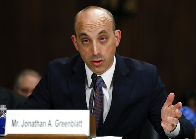 """FILE - In this May 2, 2017, file photo, Jonathan Greenblatt, CEO and National Director of the Anti-Defamation League, speaks on Capitol Hill in Washington. Muslim American groups and the Anti-Defamation League are decrying the U.S. Agency for International Development's hiring of Mark Kevin Lloyd, a religious freedom adviser who has reportedly made past anti-Islam comments. Greenblatt said Lloyd's appointment was """"particularly offensive and inappropriate"""" in light of his past anti-Islam comments and urged him to """"apologize immediately."""" (AP Photo/Carolyn Kaster, File)"""