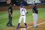 New York Mets' Andres Gimenez (60) reacts after hitting an RBI triple off Boston Red Sox relief pitcher Marcus Walden during the sixth inning of a baseball game Wednesday, July 29, 2020, in New York. (AP Photo/John Minchillo)