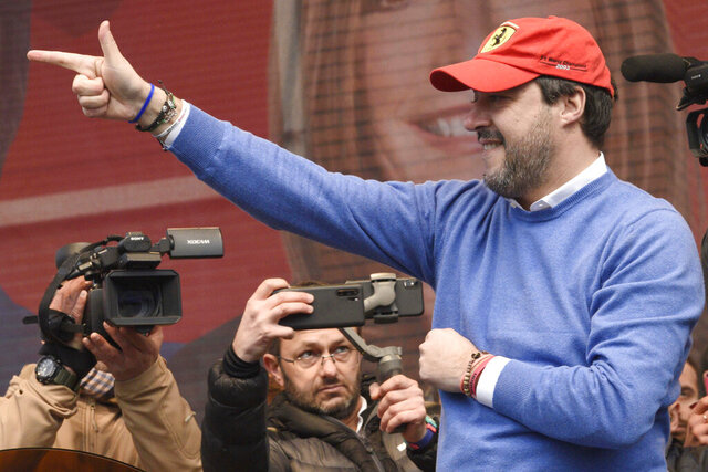 League's leader Matteo Salvini gestures during a campaign rally in view of the upcoming local elections in the Emilia Romagna region, in Maranello, Italy, Saturday, Jan. 18, 2020. (Stefano Cavicchi/LaPresse via AP)