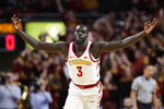 FILE - In this March 9, 2019, file photo, Iowa State guard Marial Shayok celebrates after making a 3-point basket during the first half of an NCAA college basketball game against Texas Tech, in Ames, Iowa. Shayok was named to the AP All-Big 12 Conference team, Tuesday, March 12, 2019. (AP Photo/Charlie Neibergall, File)