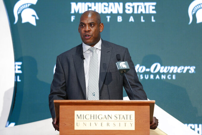 Mel Tucker, Michigan State's new football coach, speaks duirng a news conference Wednesday, Feb. 12, 2020, in East Lansing, Mich. (AP Photo/Al Goldis)