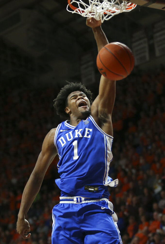 Duke's Vernon Carey Jr. (1) dunks during the first half against Virginia Tech in an NCAA college basketball game Friday, Dec. 6, 2019, in Blacksburg, Va. (Matt Gentry/The Roanoke Times via AP)