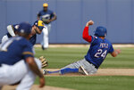 Texas Rangers' Hunter Pence (24) steals second base as Milwaukee Brewers second baseman Mike Moustakas, left, covers the base in the fifth inning of a spring training baseball game Tuesday, March 19, 2019, in Phoenix (AP Photo/Sue Ogrocki)