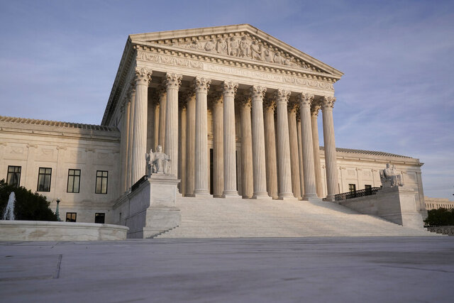 The Supreme Court is seen in Washington, Thursday afternoon, Nov. 5, 2020. (AP Photo/J. Scott Applewhite)