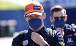 Red Bull driver Max Verstappen of the Netherlands arrives prior the third practice at the Red Bull Ring racetrack in Spielberg, Austria, Saturday, June 26, 2021. The Styrian Formula One Grand Prix will be held on Sunday, June 27, 2021. (AP Photo/Darko Vojinovic)