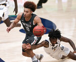 Washington State guard Isaac Bonton (10) is fouled by California guard Joel Brown (1) during the second half of an NCAA college basketball game Thursday, Jan. 7, 2021, in Berkeley, Calif. (AP Photo/Tony Avelar)