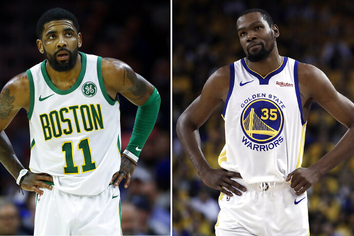 FILE - At left, in a March 20, 2019, file photo, Boston Celtics' Kyrie Irving is shown during an NBA basketball game against the Philadelphia 76ers in Philadelphia. At right, in a May 8, 2019, file photo, Golden State Warriors' Kevin Durant is shown during the first half of Game 5 of the team's second-round NBA basketball playoff series against the Houston Rockets in Oakland, Calif. Irving said Friday, Sept. 27, 2019 at the Brooklyn Nets media day, that Durant wasn't ready to play in the NBA Finals and won't let his new teammate come back to the court this time until he's fully healthy. (AP Photo/File)