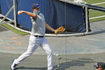 New York Yankees manager Aaron Boone throws a baseball behind the batting cage during a summer training camp workout with his team Sunday, July 5, 2020, at Yankee Stadium in New York. (AP Photo/Kathy Willens)