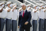Vice President Mike Pence walks into Michie Stadium during graduation ceremonies at the United States Military Academy, Saturday, May 25, 2019, in West Point, N.Y. (AP Photo/Julius Constantine Motal)