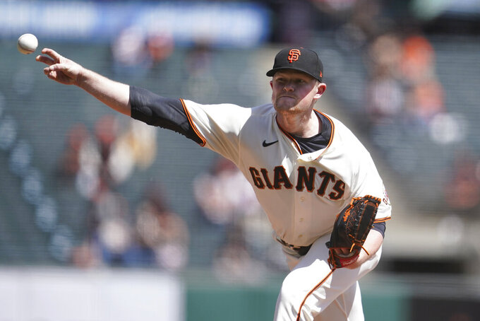 San Francisco Giants pitcher Logan Webb throws against the Colorado Rockies during the first inning of a baseball game in San Francisco, Saturday, April 10, 2021. (AP Photo/Jeff Chiu)