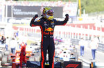 Red Bull driver Max Verstappen of the Netherlands celebrates after winning the Austrian Formula One Grand Prix at the Red Bull Ring racetrack in Spielberg, southern Austria, Sunday, June 30, 2019. (AP Photo/Ronald Zak)
