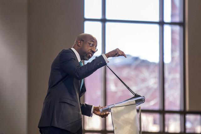 The Rev. Raphael G. Warnock speaks during the Martin Luther King, Jr. annual commemorative service at Ebenezer Baptist Church in Atlanta on Monday, Jan. 20, 2020. (Branden Camp/Atlanta Journal-Constitution via AP)