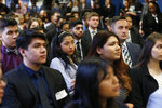 Students of Year Up Chicago, a one-year long job training program that provides low-income young adults, listens to Sen. Dick Durbin, an Illinois Democrat, Friday, Jan. 12, 2018, in Chicago. The senator present at a White House immigration meeting says President Donald Trump used vulgar language to describe African countries, saying he