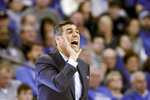 Villanova coach Jay Wright yells instructions during the second half of an NCAA college basketball game against Creighton in Omaha, Neb., Sunday, Jan. 13, 2019. Villanova won 90-78. (AP Photo/Nati Harnik)