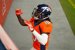Denver Broncos wide receiver Jerry Jeudy (10) celebrates after scoring a 92-yard touchdown against the Las Vegas Raiders during the second half of an NFL football game, Sunday, Jan. 3, 2021, in Denver. (AP Photo/Jack Dempsey)