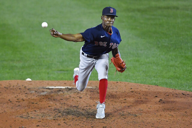 Boston Red Sox relief pitcher Phillips Valdez throws against the Toronto Blue Jays during the fifth inning of a baseball game in Buffalo, N.Y., Tuesday, Aug. 25, 2020. (AP Photo/Adrian Kraus)