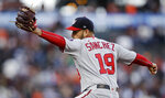 Washington Nationals pitcher Anibal Sanchez works against the San Francisco Giants during the first inning of a baseball game Tuesday, Aug. 6, 2019, in San Francisco. (AP Photo/Ben Margot)